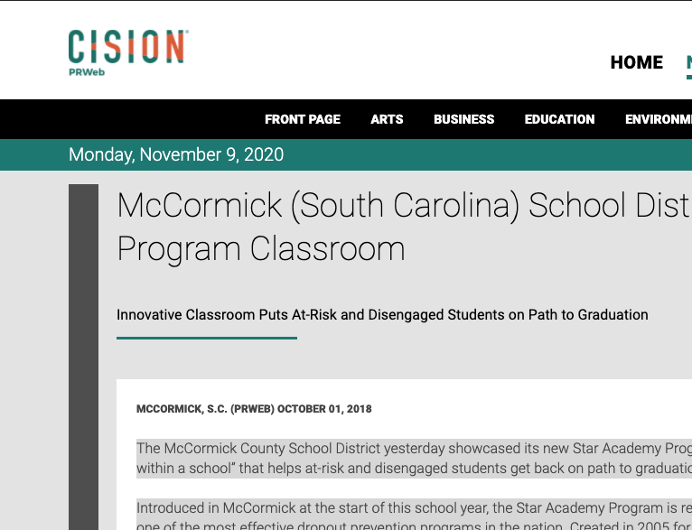 McCormick (South Carolina) School District Adds Star Academy Program Classroom