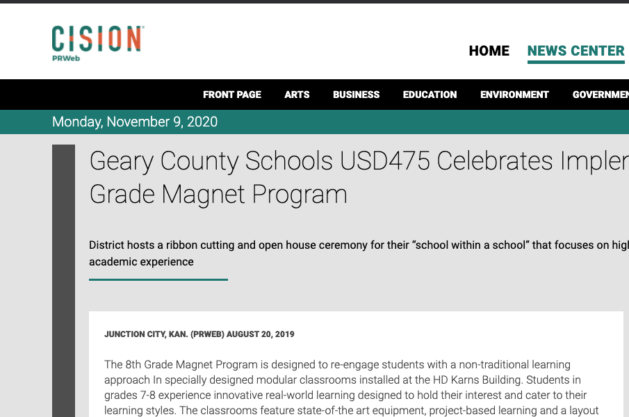 Geary County Schools USD475 Celebrates Implementation of 8th Grade Magnet Program